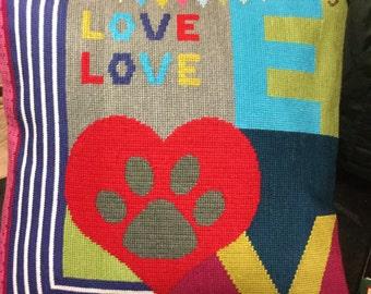 Dog Love needlepoint cushion pillow, bespoke, heart,