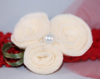 Red and Ivory Rose Headband (6-12 months)