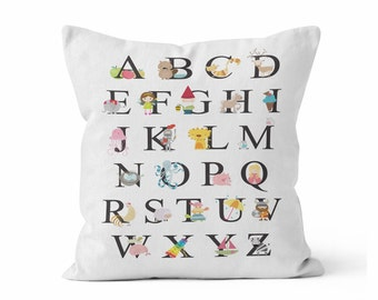Alphabet Throw Pillow Case w/optional insert/ /cartoon animals / Playroom/ Kid Room / Childs Room/ ABC's/ Techer Pillow/ Classroom/