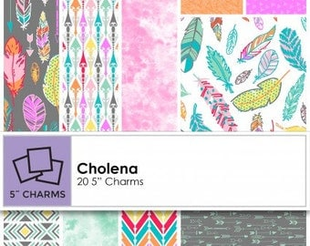 """Cholena by 3 Wishes Fabric charm pack containing 20 pcs 5"""" x 5"""" cotton fabric"""