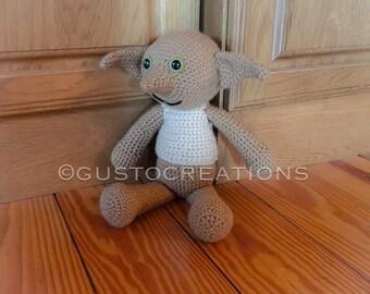 Crocheted Dobby, Dobby the House Elf Stuffie with optional sock