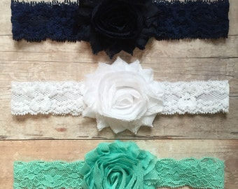 Set of 3 Baby Girl Headbands, Navy Blue White Aqua Headbands, Lace Headbands, Baby Shabby and Chic headbands, Baby headbands, Headband set