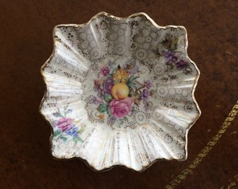 H & K Tunstall Chintz Pin/Trinket Dish with Fluted Edges - Made in England
