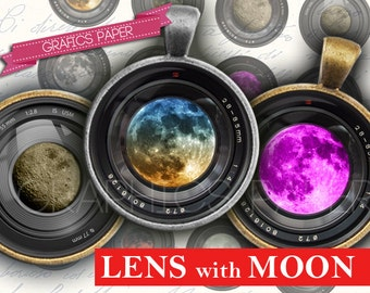 "Camera Lens whit Moon Digital collage sheet 1 inch, 25mm circles, 1.5"", 1.25"", 30mm Circles - Printable Images Instant Download- td154"