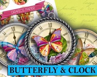 "Butterfly, Butterflies digital collage sheet - td313 - 1.5"", 1.25"", 30mm, 1 inch circles - digital downloads - jewelry making, Bottle Caps"