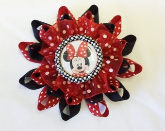 Minnie Mouse Red Loopy Hair Bow