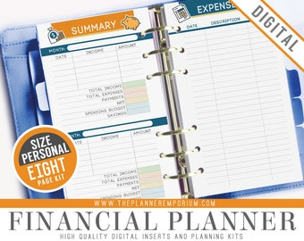 Personal Financial Planner Inserts - Fits Kikki K Medium, Filofax Personal Printable Page - Debt, Savings, Income, Expenses, Finance Tracker