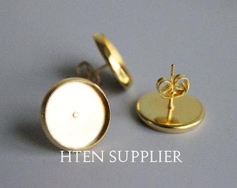 100pcs 8mm12mm 14mm 16mm Gold Earstuds Ear Stud, earrings Settings base ,  Cabochon Setting