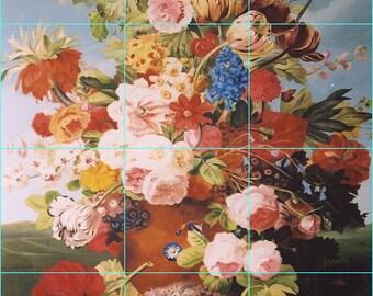 Pink and Orange Carnations,Ceramic Tile Backsplash 18 x 24