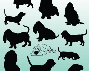 12 Basset Hound Silhouette Images, Digital Clipart Images, Clipart Design Elements, Instant Download, Black Silhouette Clip art