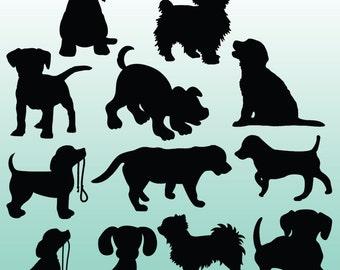 12 Puppy Silhouette Digital Clipart Images, Clipart Design Elements, Instant Download, Black Silhouette Clip art