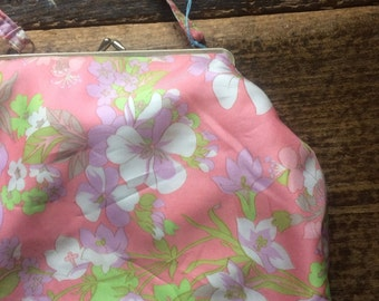 Bag Vintage 1960s Pink and Green Floral Top Handle. Waterproof Lining