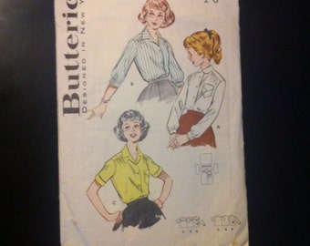 "SALE WAS 5 Girls Blouse Pattern. 1950s Butterick 600. Size 14 Breast 32"". Tailored Blouse"