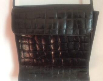 SALE WAS 16 Vintage Handbag Shoulder Bag. Black Leather L Credi Made in Italy