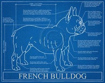 French Bulldog Blueprint Elevation / French Bulldog Art / French Bulldog Wall Art / French Bulldog Gift / French Bulldog Print