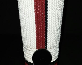 Red, White and Black Knit Polymer Clay and Button Vase