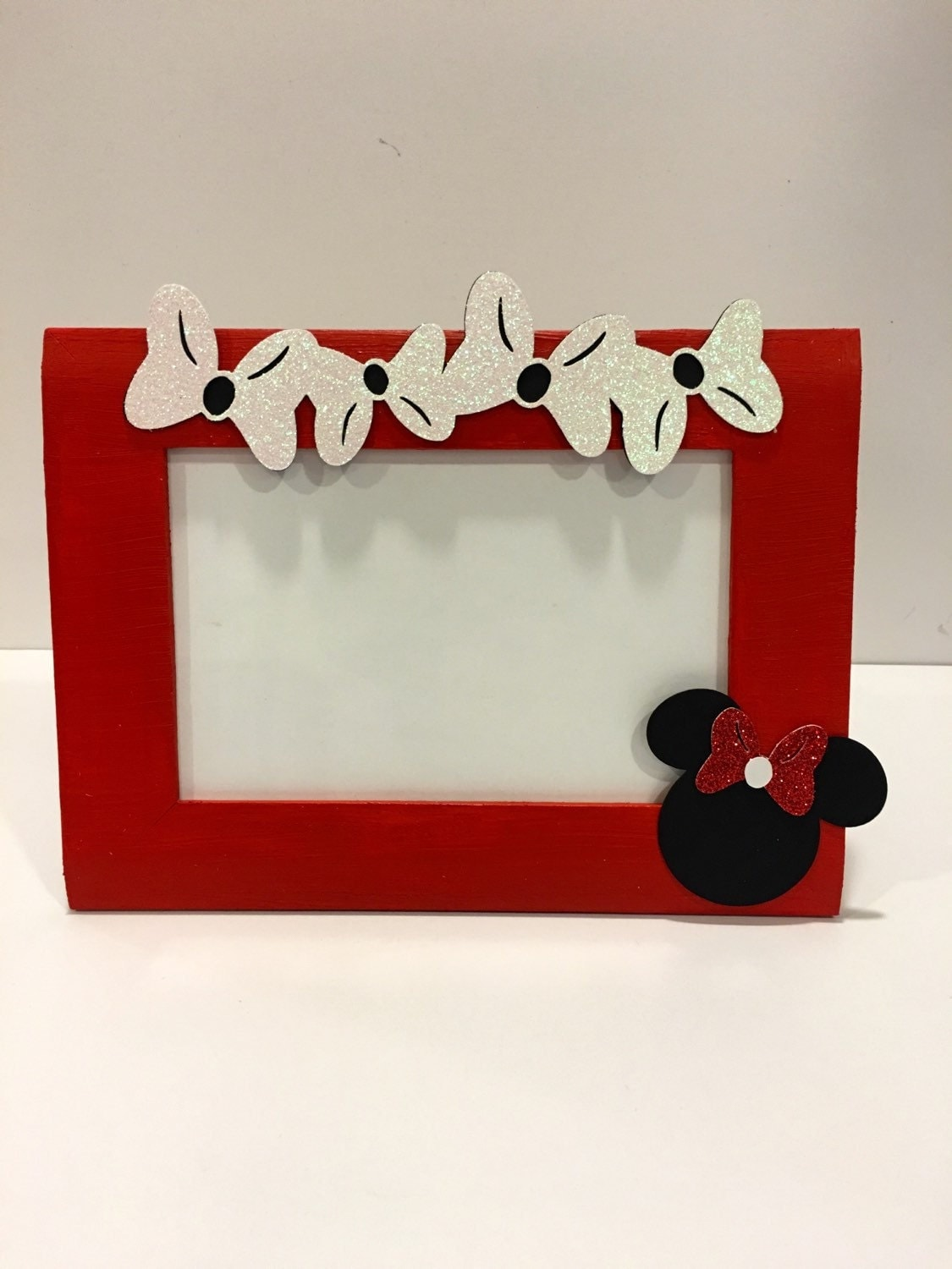 minnie mouse inspired picture frame red and black table. Black Bedroom Furniture Sets. Home Design Ideas