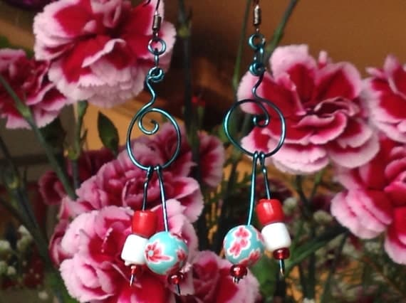 70s retro•spring fling floral polymere ball•wearable art•boho gypsy hippy groovy gal• hand crafted wire earrings by designer TR Jackson.