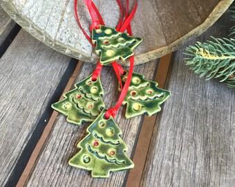 Mini Christmas Tree Ornament   Ceramic Christmas Tree Ornament   Stoneware Christmas tree   Pottery Christmas Tree   Christmas tree gift tag