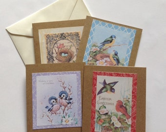 Easter card set, Easter gift cards, blank inside, kraft, vintage pictures, handmade, pretty, bird, Easter greetings