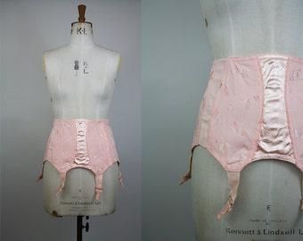 SALE*** 1950s Pink Girdle / 50s Suspender Belt / 1950s Corset / Open Bottom Girdle / Cotton / Boned Girdle / Size Medium - Large / M L
