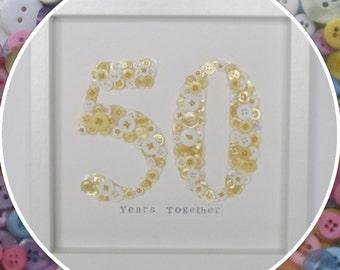 Handmade Personalised Wedding Anniversary Button Frame (20 / 25 / 30 / 40 / 50 / 60 / 70 / 80 )