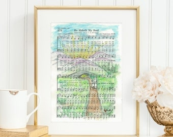 He Hideth My Soul - Hymn - Mountains - Watercolor - Print - Cards