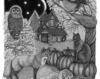 Witchy Woodland A4 Print