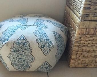 Premier Prints Moroccan Boho Linen Look Pouf Ottoman Floor Cushion Bean Bag Chair