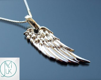 Solid 925 Sterling Silver Beautiful Angel Wing Luck Pendant Necklace Box Chain FREE UK SHIPPING