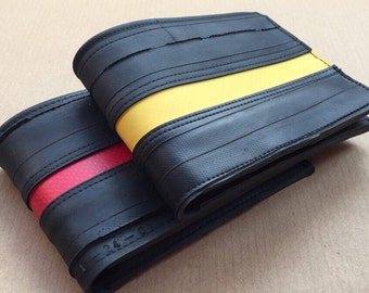Bifold mens wallet, inner tube wallet with tarpaulin stripe, groomsmen gift, gift for him, vegan wallet men, card wallet