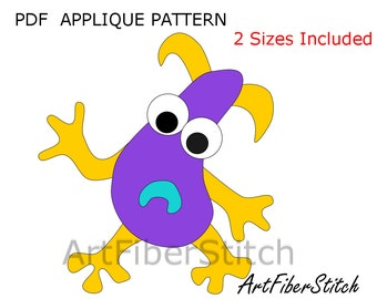 Uh Oh Monster PDF Applique Template Pattern - available for instant download from ArtFiberStitch