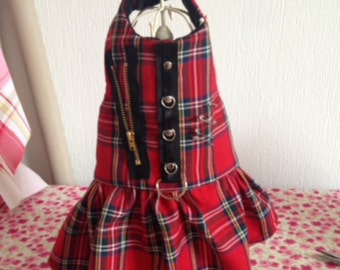 Red rebel tartan harness dress