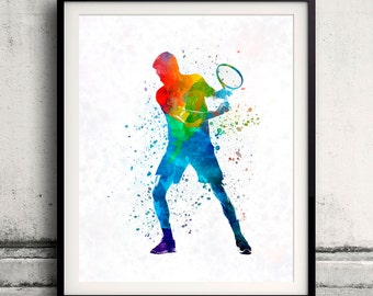 Man tennis player 02 in watercolor - poster watercolor wall art splatter sport illustration print Glicée artistic - SKU 2115