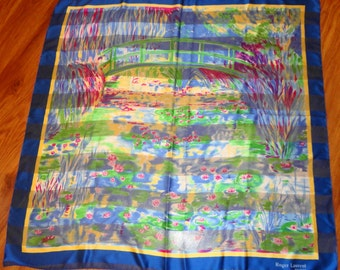 """Vntg classic Roger Laurent  34"""" x 34""""  multicolor scarf,pony tie,headband, no label, marked  on scarf, vivid colors,charming watercolor look"""