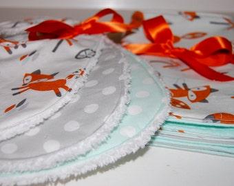 Bib and Burp Cloth Set, Fox Baby Gift, Gender Neutral Baby Gift Set