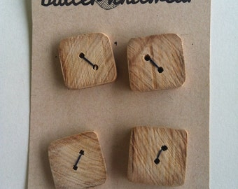 Wooden Buttons; Rounded Corner Set of Four