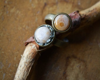 Sunlight Ring - coral fossil and Pyrite