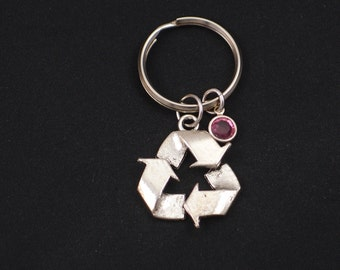 recycle symbol keychain, sterling silver filled, birthstone keychain, silver recycle symbol charm keyring, recycling key chain, eco friendly