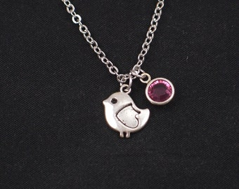 bird necklace, birthstone necklace, silver bird charm, little bird charm pendant, baby bird necklace, new mom gift, baby shower gift, animal