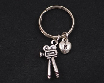 camera keychain, sterling silver filled, initial keychain, silver camera charm keyring, wedding photographer gift, photography keychain