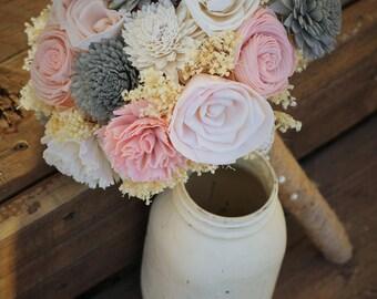 Vintage Rose, Pink and Gray, wedding bouquet, bridal bouquet, sola bouquet, rustic wedding, woodland wedding, keepsake bouquet, bridesmaid