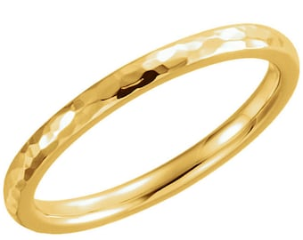 14K Yellow 2 mm Comfort fit Hammered Ring Band