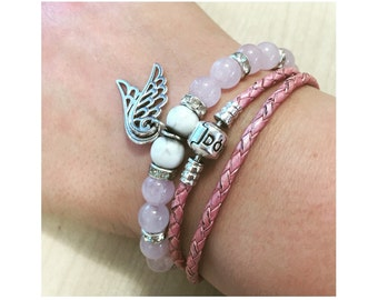 Rose quartz gemstone handmade bracelet with hint of Howlite and silver wing charms. Guardian angel bracelet~Heart stone, Heart chakra