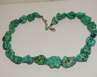 Vintage Sterling Silver Chunky Bold Turquoise Necklace.