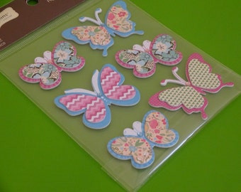 6 pcs Shabby chick butterflies dimensional stickers scrapbook stickers cardmaking butterfly stickers