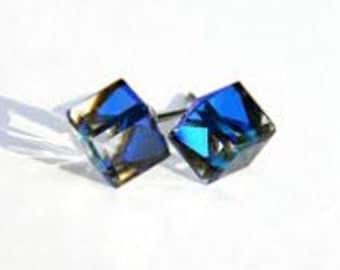 swarovski Crystal Sterling Silver Stud Earrings