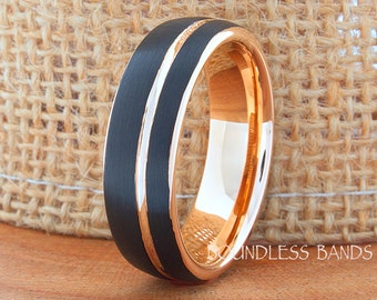 Tungsten Ring Tungsten Wedding Ring Mens Women's Wedding Band Promise Anniversary Free Shipping Dome 7mm Black Rose Gold Matching Ring Set