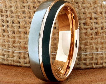 Tungsten Ring 18k Rose Black And White His Hers Try Color Tungsten Band Anniversary Ring Promise Ring Comfort Fit Band Wedding Ring 7mm New