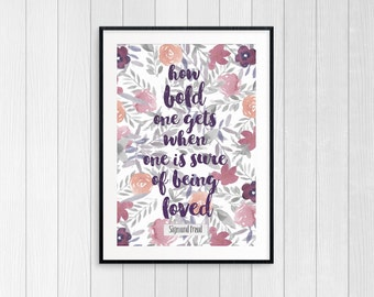 Illustrated Watercolour Floral Quote Print // How Bold